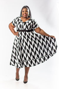 Hlumela 3/4 Monochrome Dress