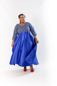 Shweshwe Royal Blue Maxi