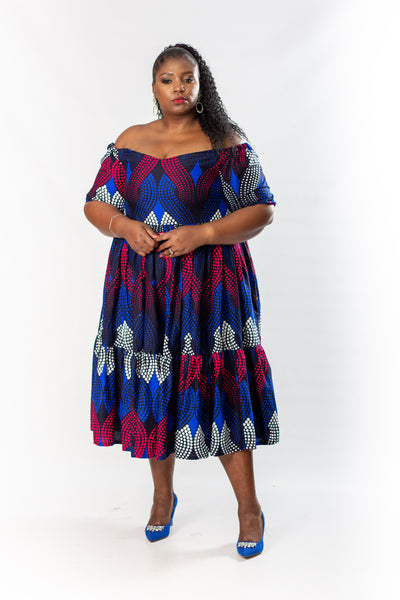 Off-shoulder Ankara Dress