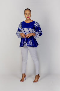 Qhawekazi Royal Blue Ankara Peplum Top