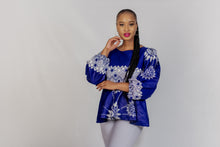 Load image into Gallery viewer, Qhawekazi Royal Blue Ankara Peplum Top