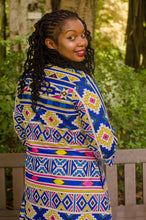 Load image into Gallery viewer, Qhawekazi Blue Yellow Ndebele Kimono