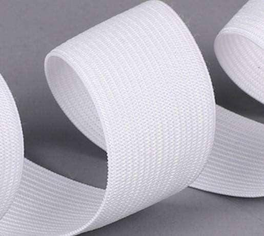15mm Corded Elastic - White - High Quality