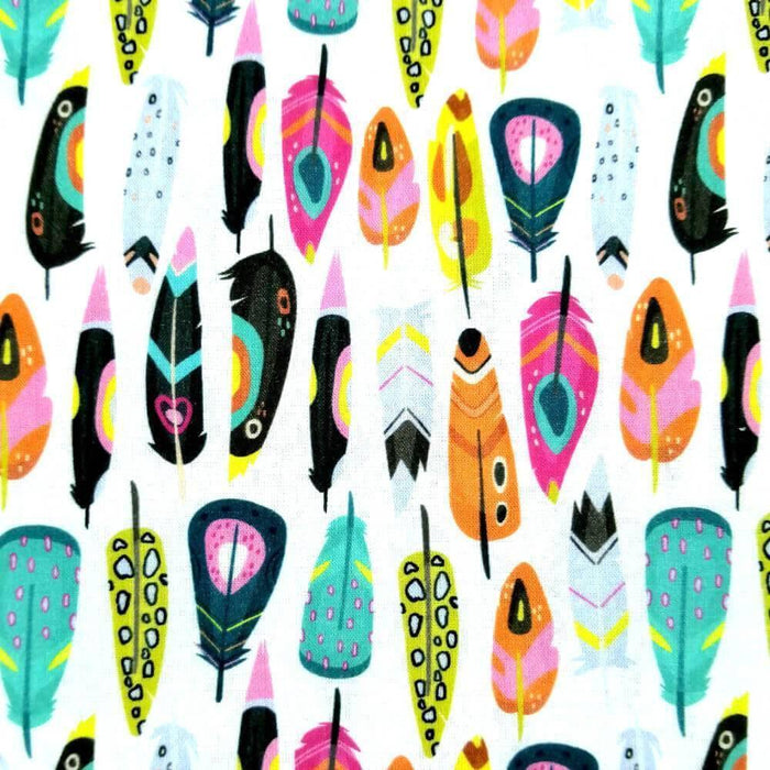 Abstract Feathers Cotton Print - Extra Wide