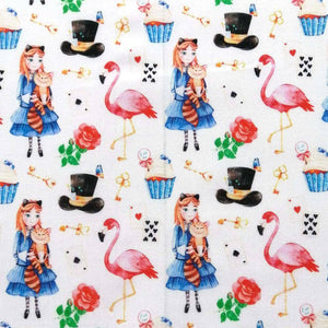 Alice Wonderland Flamingo Cotton Print - Extra Wide | Ab Fab Textiles