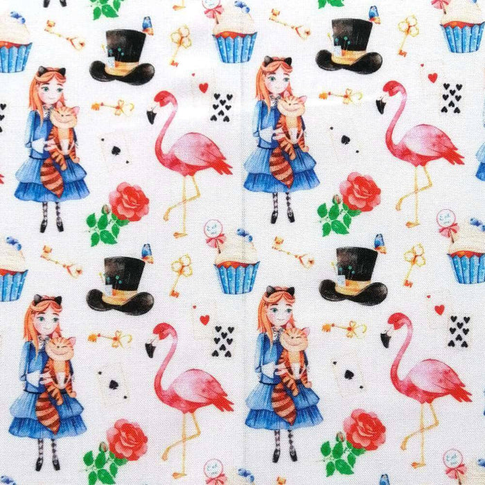 Alice Wonderland Flamingo Cotton Print - Extra Wide