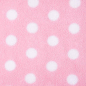 Baby Pink with White Dots Anti Pilling Polar Fleece | Ab Fab Textiles