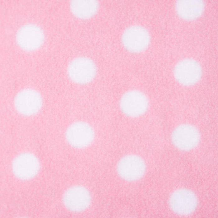 Baby Pink with White Dots Anti Pilling Polar Fleece