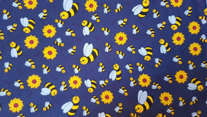 Bees on Blue Cotton Print
