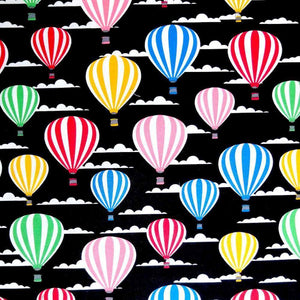 Black Hot Air Balloons Cotton Print | Ab Fab Textiles