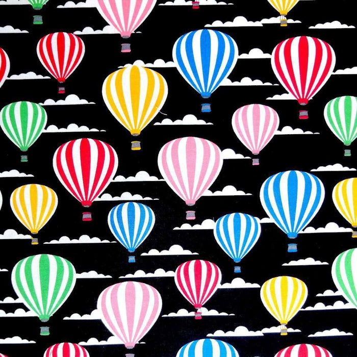 Black Hot Air Balloons Cotton Print