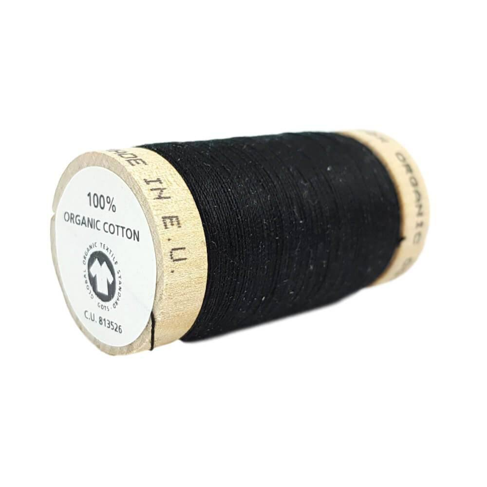 Black (4808) - 100% Organic Cotton Thread - 100m | Ab Fab Textiles