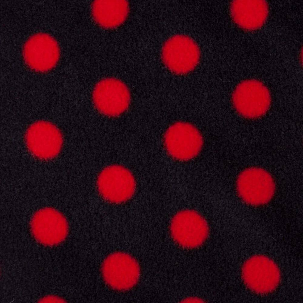 Black with Red Dots Anti Polar Pilling Fleece | Ab Fab Textiles