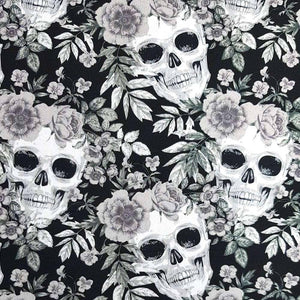 Black and White Skulls and Flowers Cotton Print | Ab Fab Textiles
