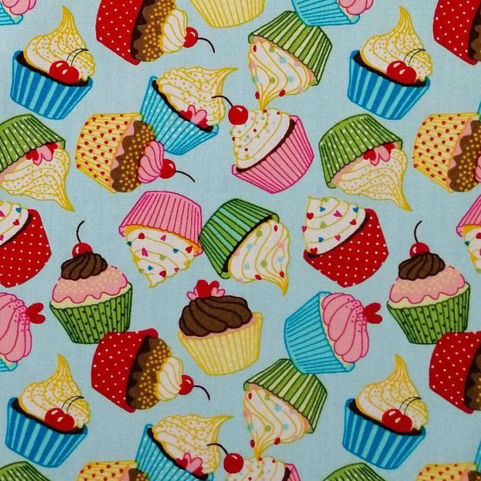 Blue Cupcakes Cotton Print