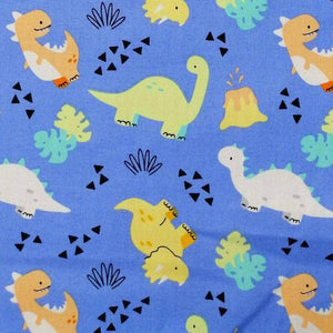 Blue Cute Dinosaurs Cotton Print | Ab Fab Textiles