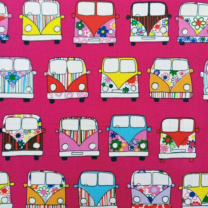 Cerise Campervan Cotton Print