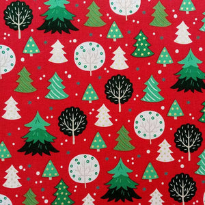 Patterned Christmas Trees Cotton Print - Extra Wide | Ab Fab Textiles