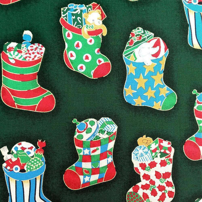 Green Gifts in Christmas Stockings Cotton Print - Wide