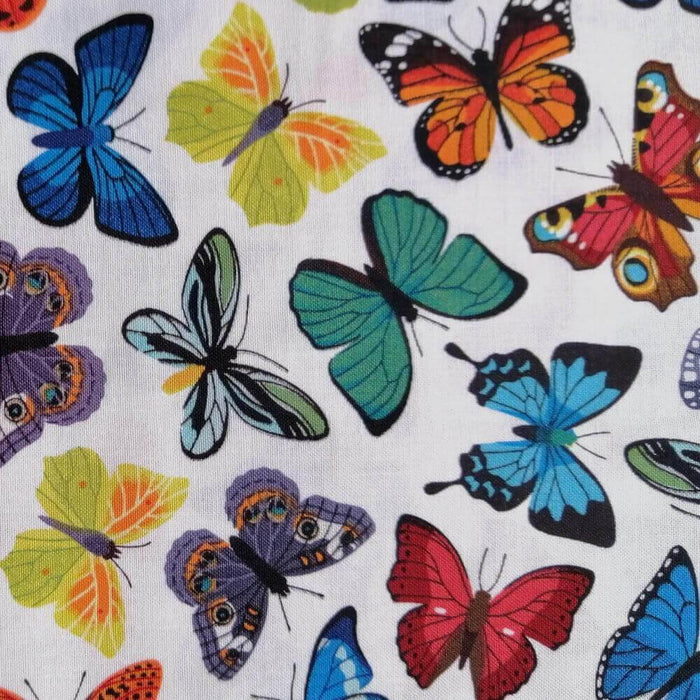 Multicoloured Butterfly on Ivory Cotton Print