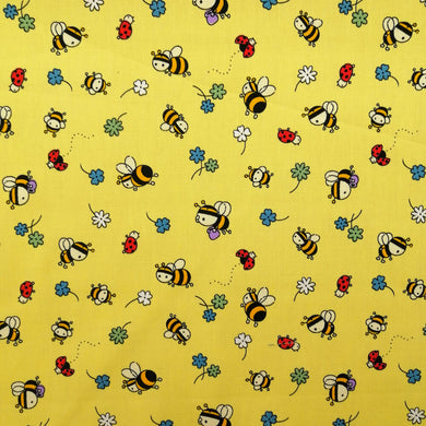 Cute Bees on Yellow Cotton Print