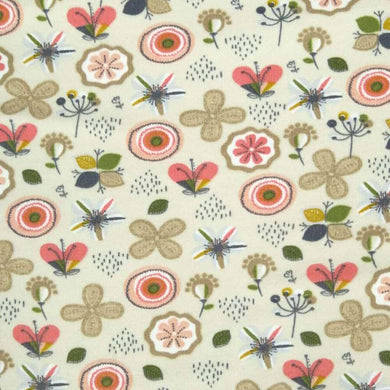 Abstract Flowers Ecru Jersey Print - Wide | Ab Fab Textiles