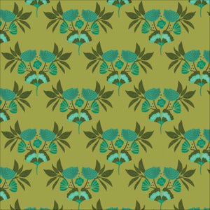 Emerald Stems Green by Kate Merritt - 100% Organic Cotton - Cloud9 Fabrics | Ab Fab Textiles