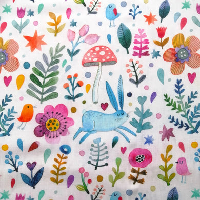 Forest Rabbit Cotton Print - Extra Wide