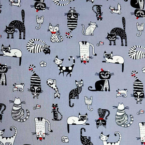 Funny Cats on Grey Cotton Print | Ab Fab Textiles