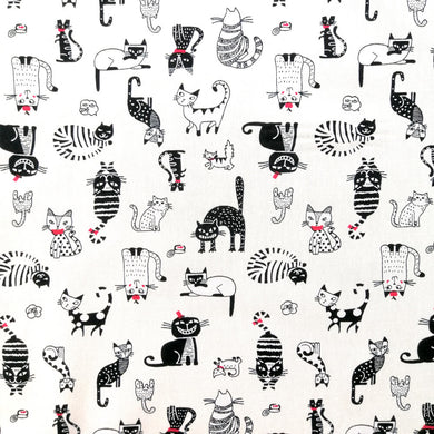 Funny Cats on Ivory Cotton Print
