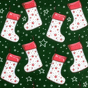 Green Christmas Stockings Polycotton Print | Ab Fab Textiles