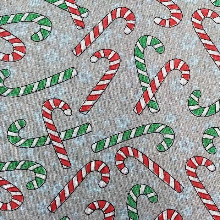 Grey Candy Canes Polycotton Print