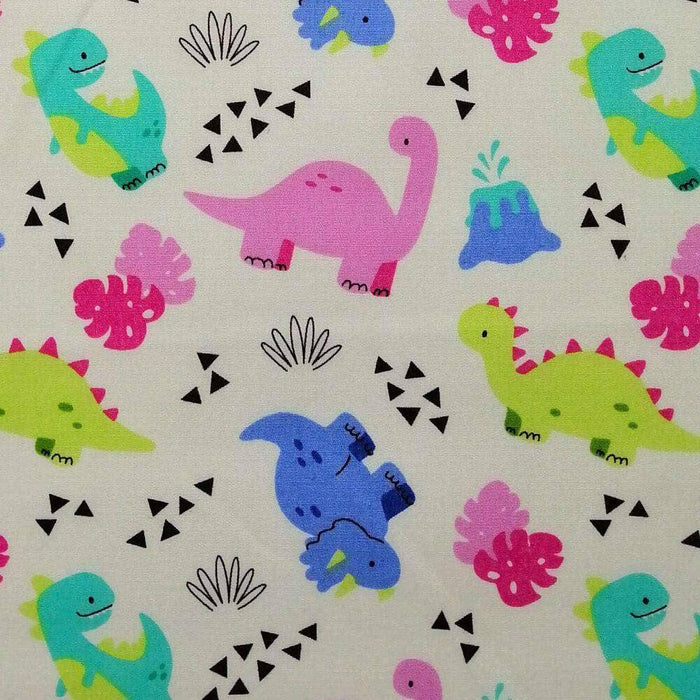 Ivory Cute Dinosaurs Cotton Print
