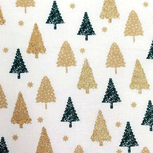 Ivory Glitter Christmas Trees Cotton Print - Wide | Ab Fab Textiles