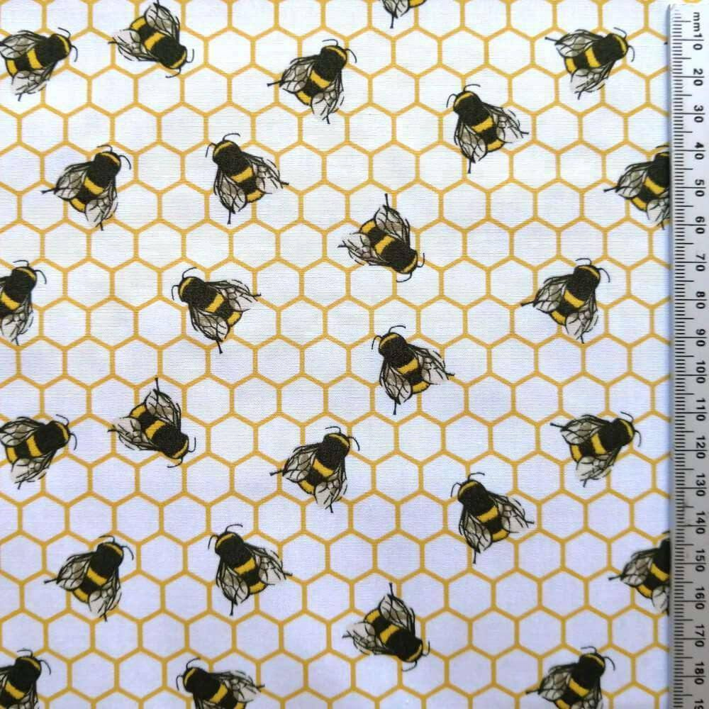 Ivory Honeycomb Bees Cotton Print | Ab Fab Textiles