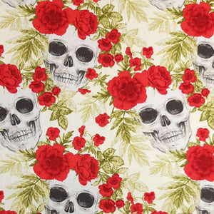 Ivory Skulls and Flowers Cotton Print | Ab Fab Textiles