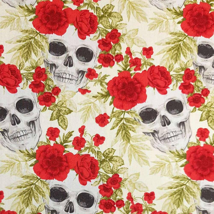 Ivory Skulls and Flowers Cotton Print
