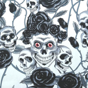 Ivory Skulls and Roses Cotton Print | Ab Fab Textiles
