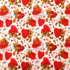 Knitted Teddy Hearts Cotton Print - Wide | Ab Fab Textiles