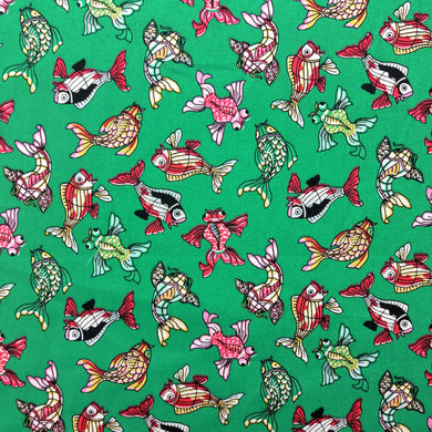 Fancy Fish on Jade Cotton Print