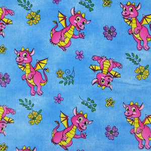 Dragons on Blue Organic Cotton Print - Wide | Ab Fab Textiles