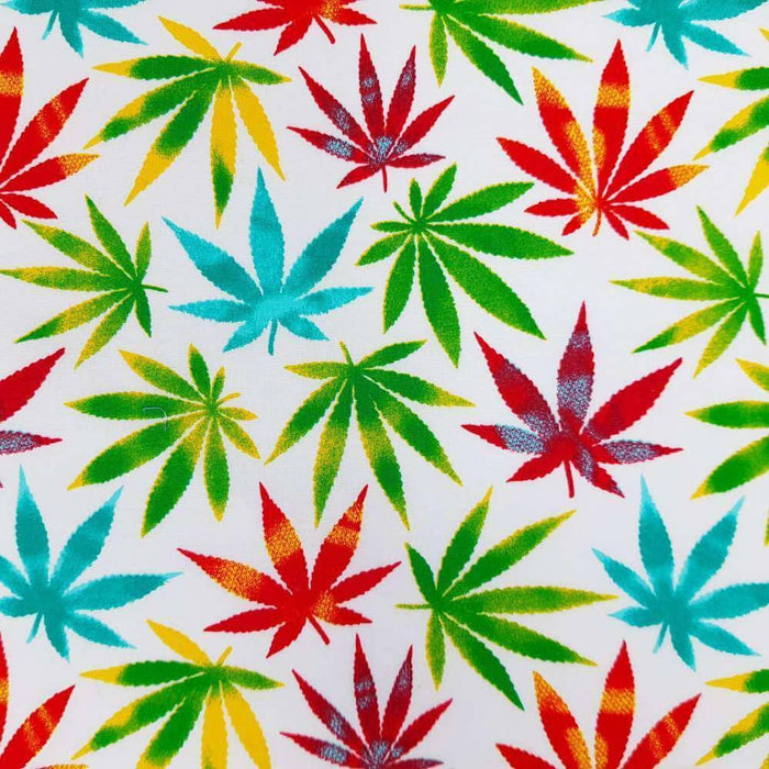 Multicolour Marijuana Leaf Cotton Print