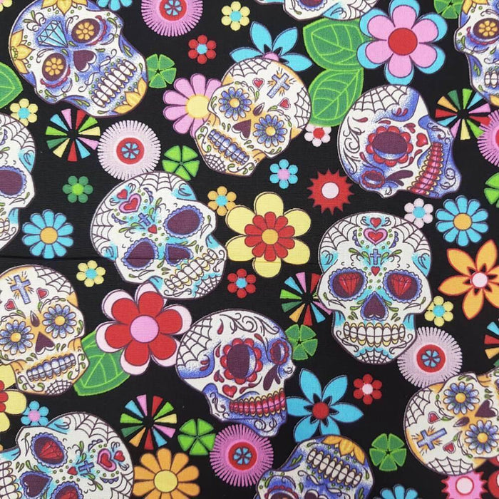 Day of the Dead Skulls on Black Cotton Print