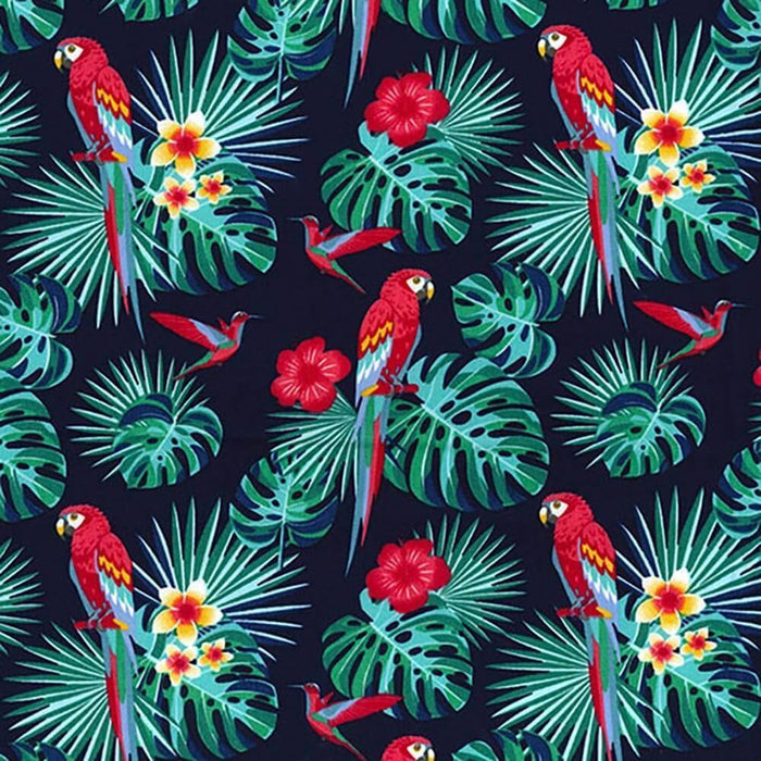 Macaws on Navy Cotton Print