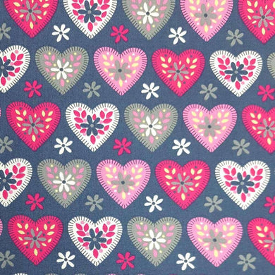 Patterned Hearts on Grey Cotton Print | Ab Fab Textiles