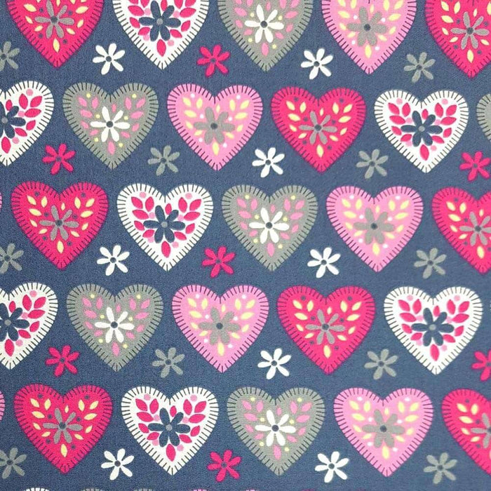 Patterned Hearts on Grey Cotton Print