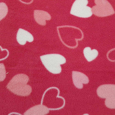 Pink Hearts Anti Pilling Polar Fleece | Ab Fab Textiles