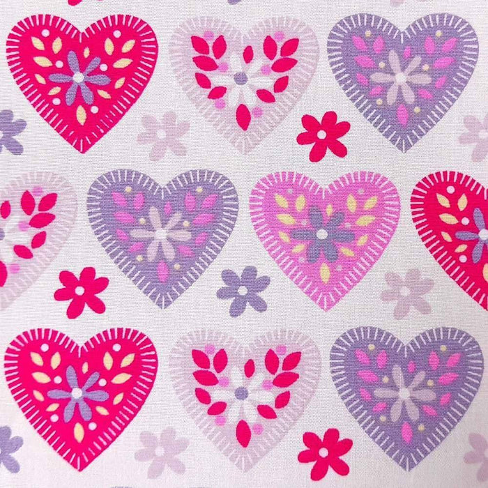 Patterned Hearts Cotton Print