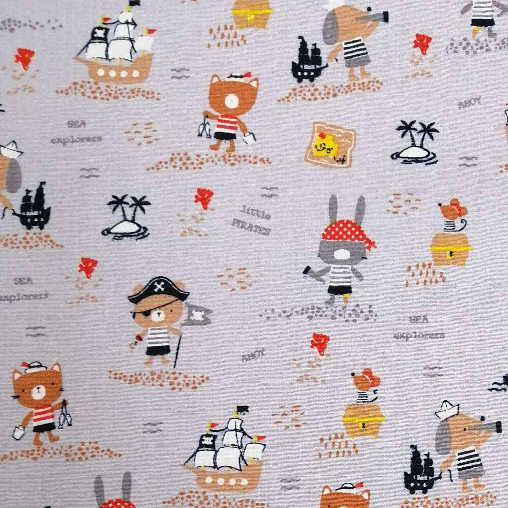 Organic Pirates Ahoy on Silver - Extra Wide | Ab Fab Textiles