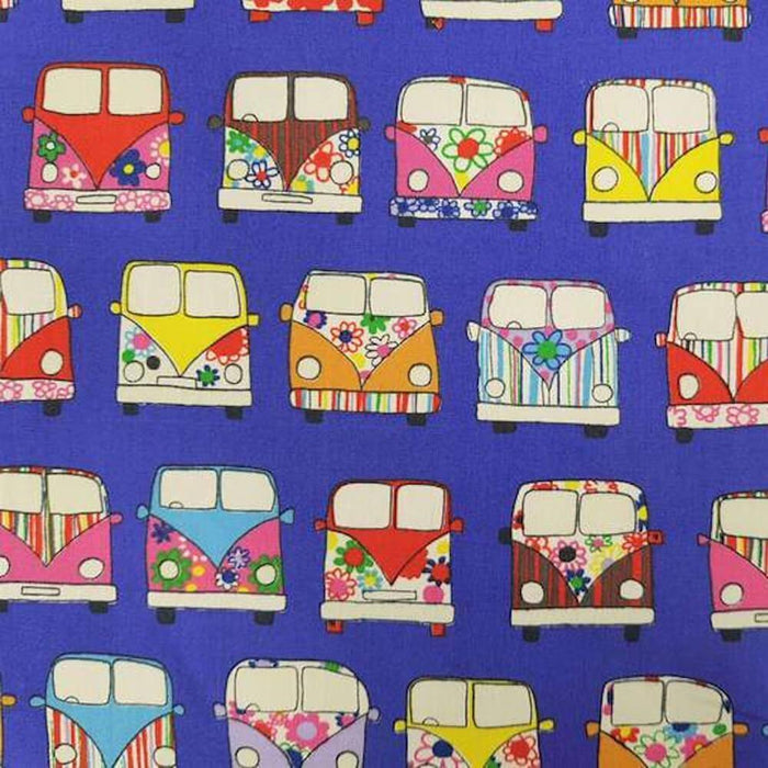 Purple Campervan Cotton Print